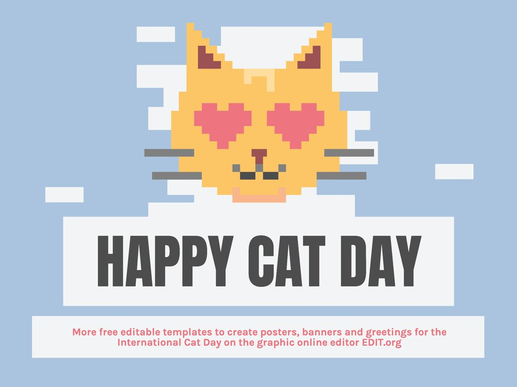Happy cat day template to edit online for free