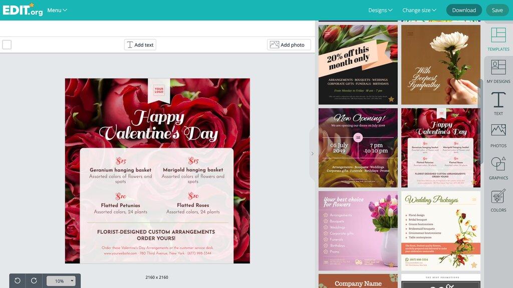 Graphic design templates to promote florist shops