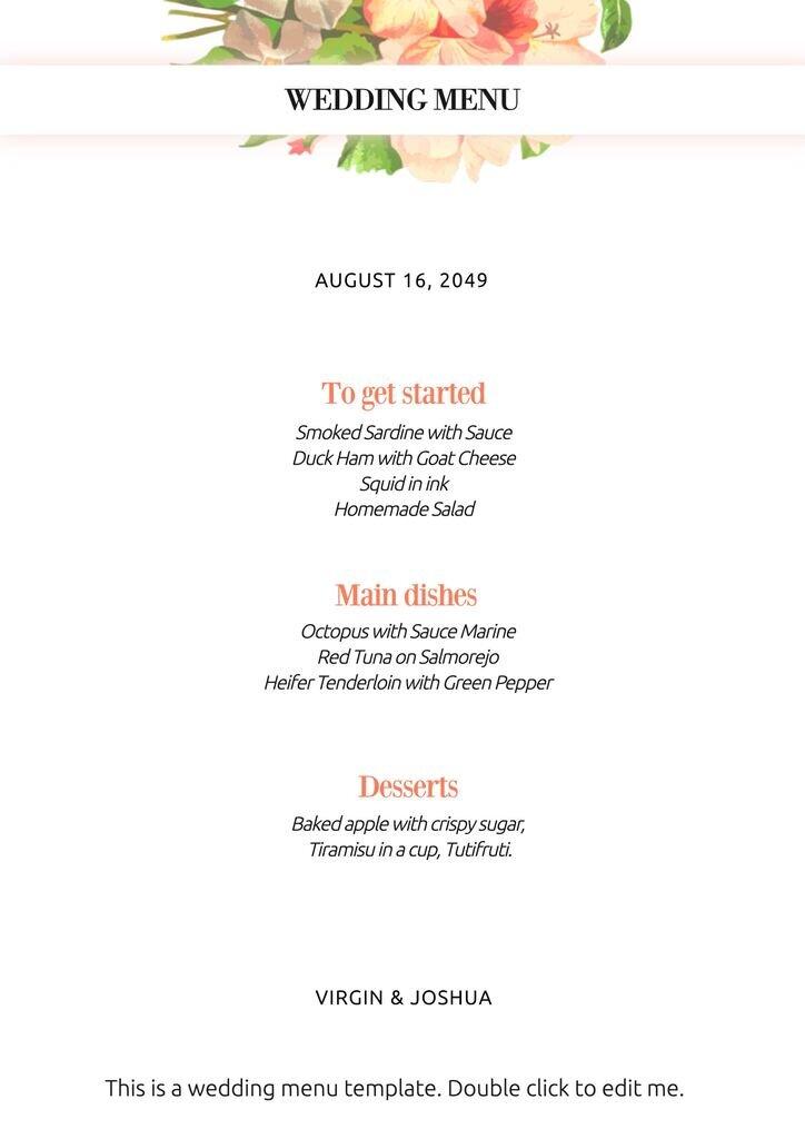 Floral wedding menu template to edit