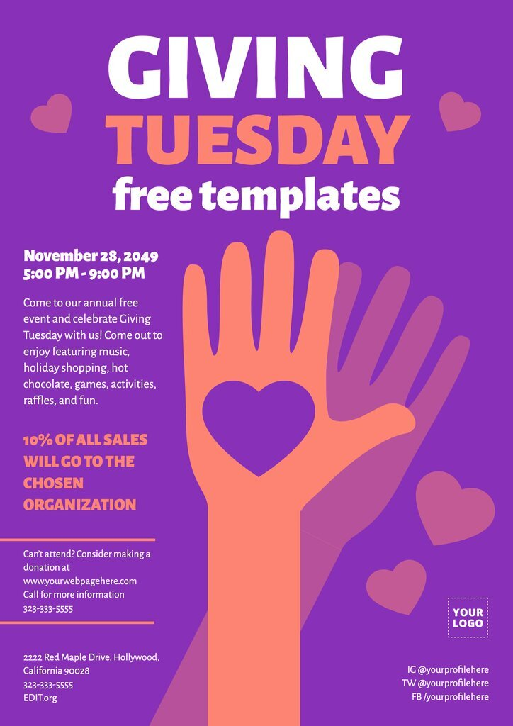 Giving Tuesday editable flyer template to edit online