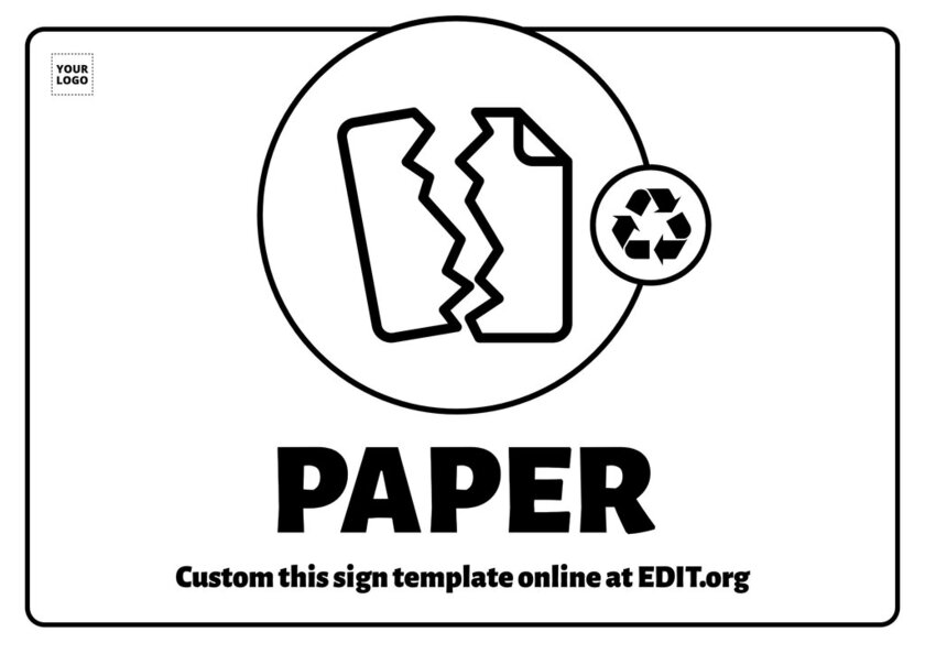 Paper recycling printable sign to edit and adapt online