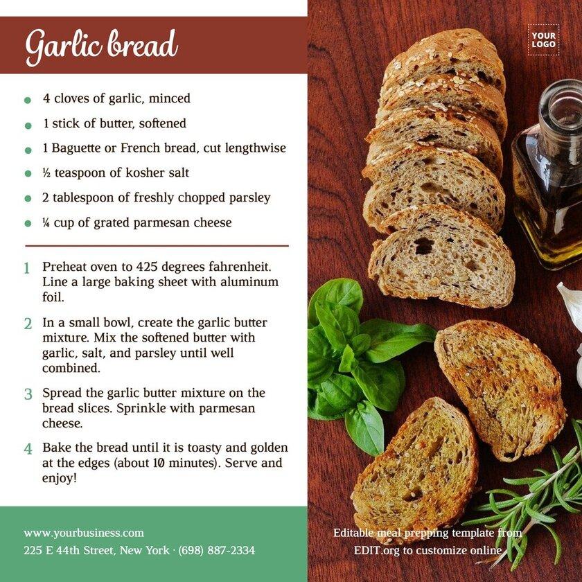 Customizable recipe template for social media