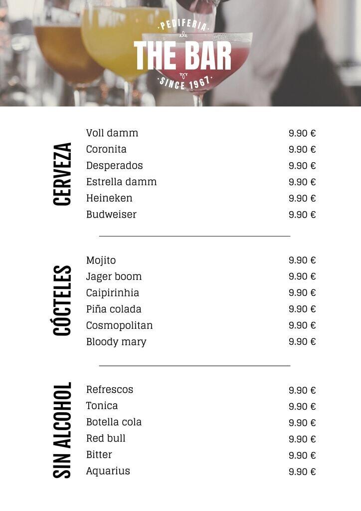 Lista editable de bebidas, diseño de plantilla