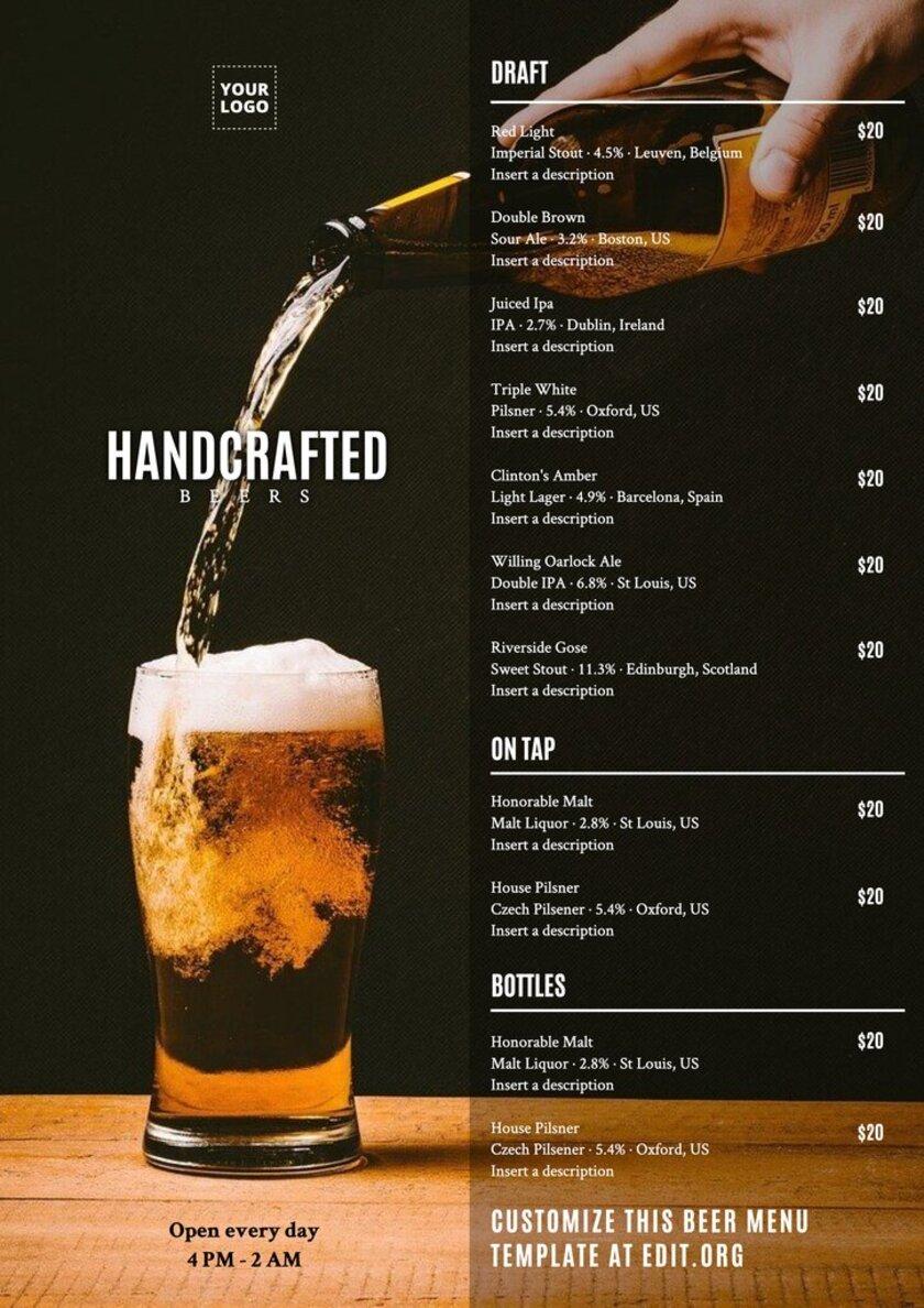 Handcrafted beer menu design template customizable online