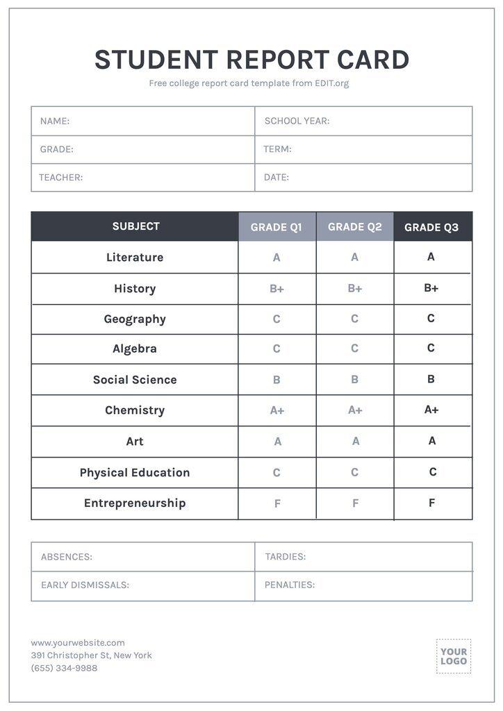 Printable school report card template