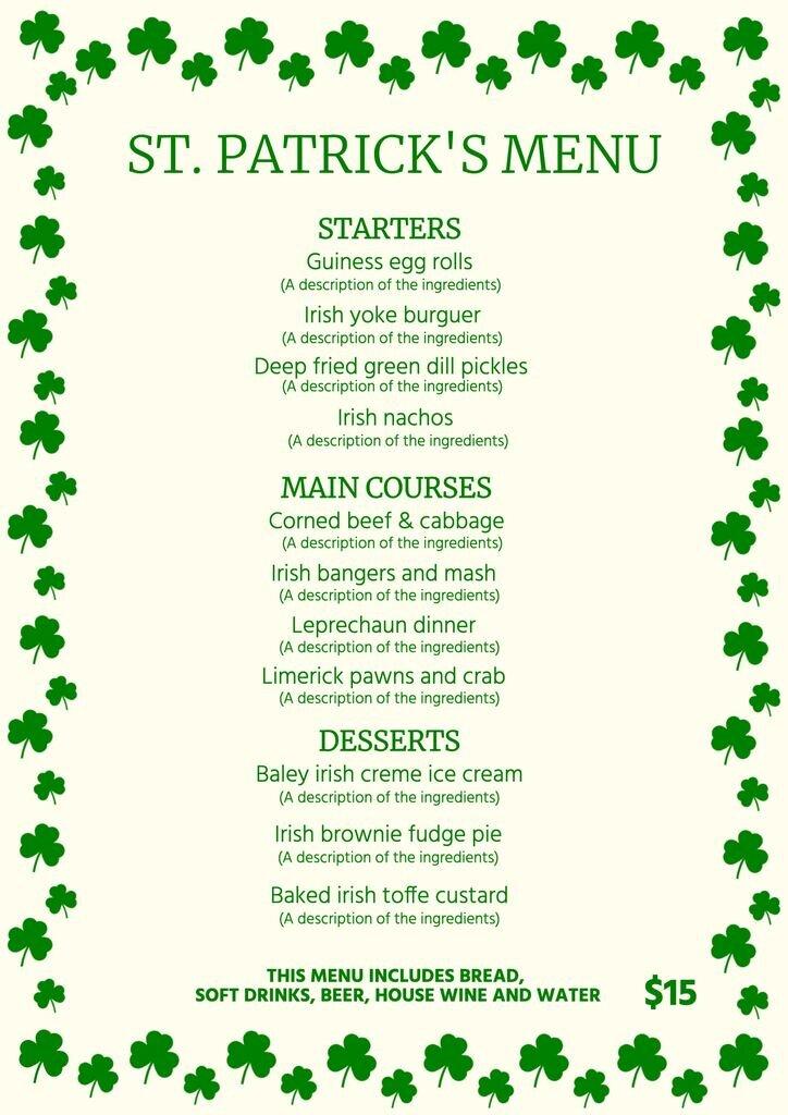 Saint Patrick's menu template to edit online and download