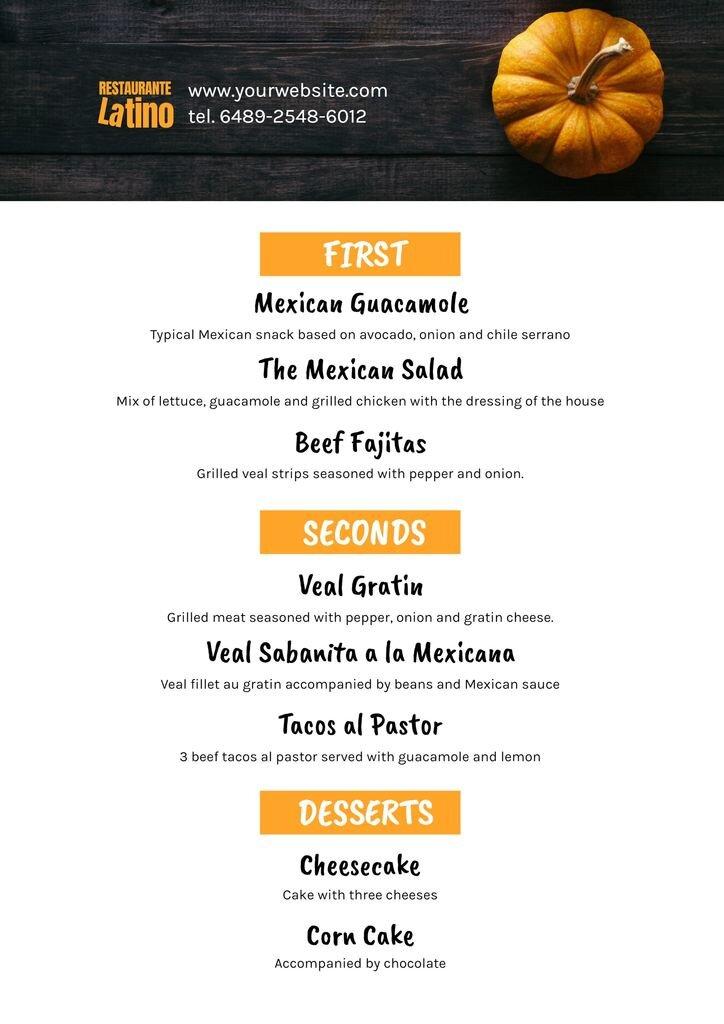 themed halloween menu for restaurants