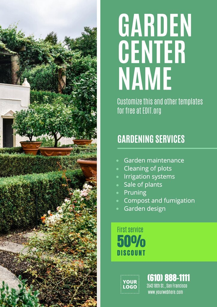 Garden center template design to customize online for free
