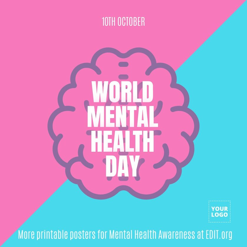 World mental health day poster to edit and print