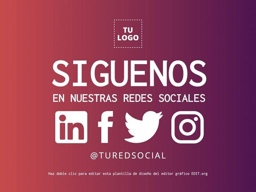 Como conseguir seguidores instagram. Plantillas Siguenos para editar