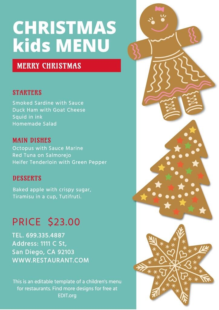 Christmas menu for kids for restaurants and cafes for free