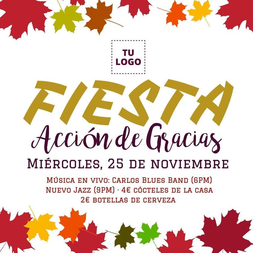 Banner de Acción de Gracias de fiesta de celebración