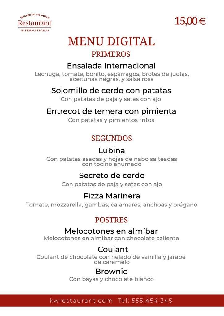 plantilla menu digital para restaurantes
