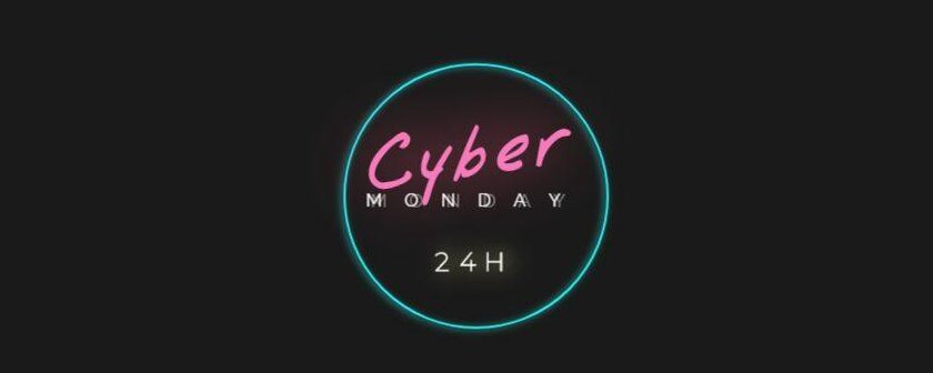 cyber monday neon banner template for free