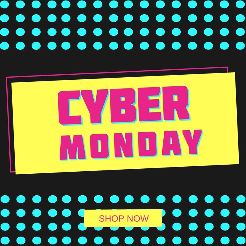 banner cyber monday pink and yellow banner template design