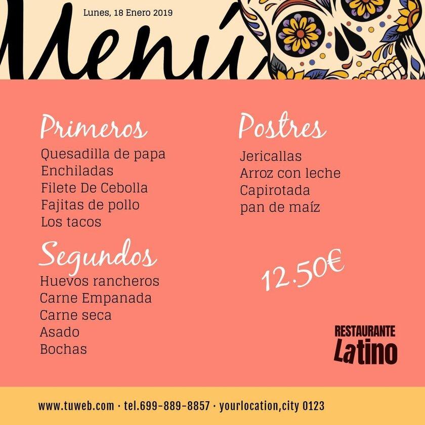 plantilla menu restaurante mexicano