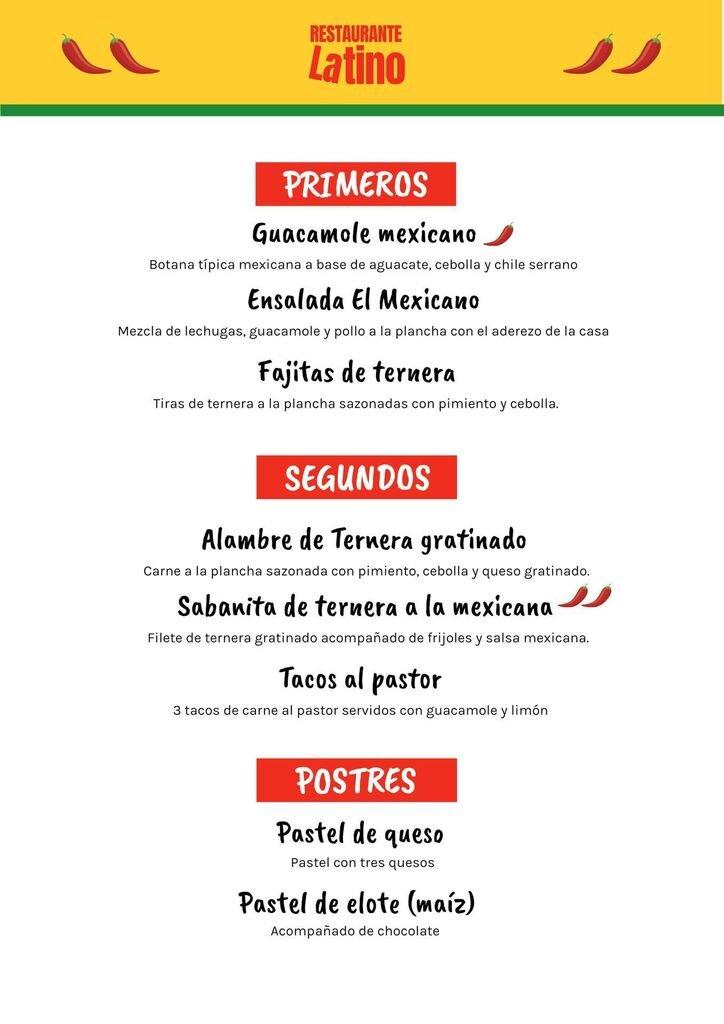 menu del dia latino