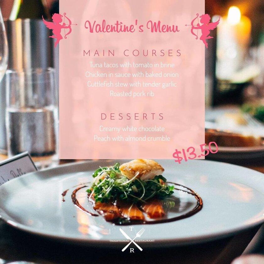 valentines menu pink template