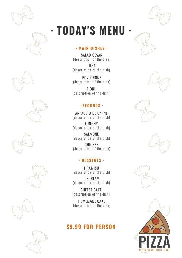 menu italian template
