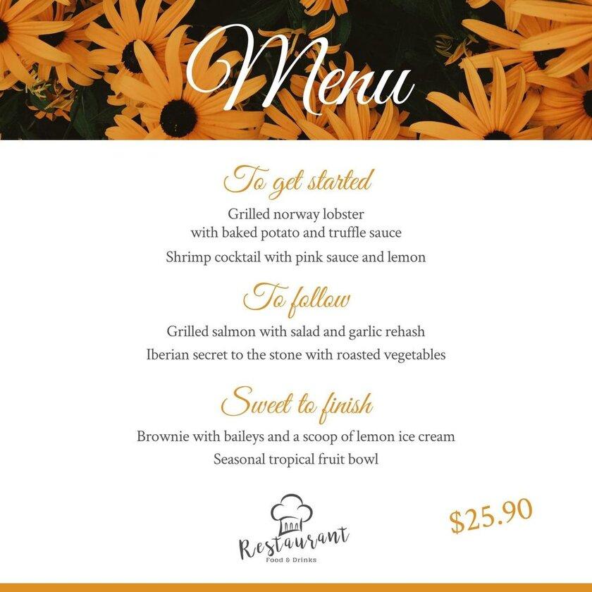 flowers menu example template