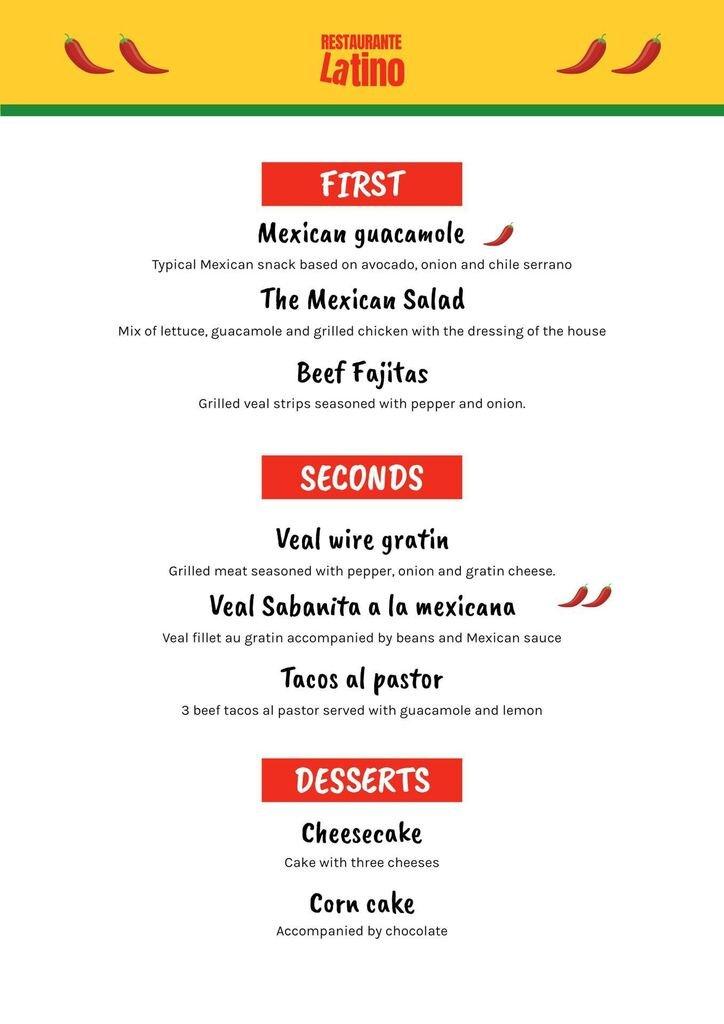 menu latin restaurant template