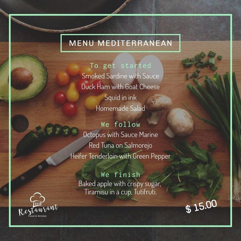 menu mediterranean template