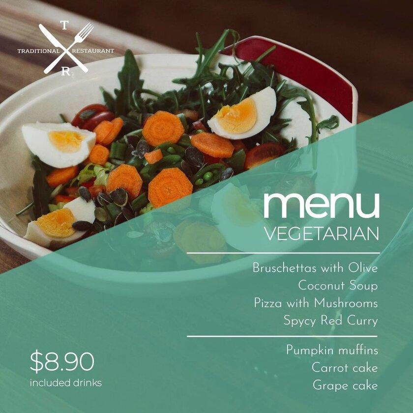menu vegan template example
