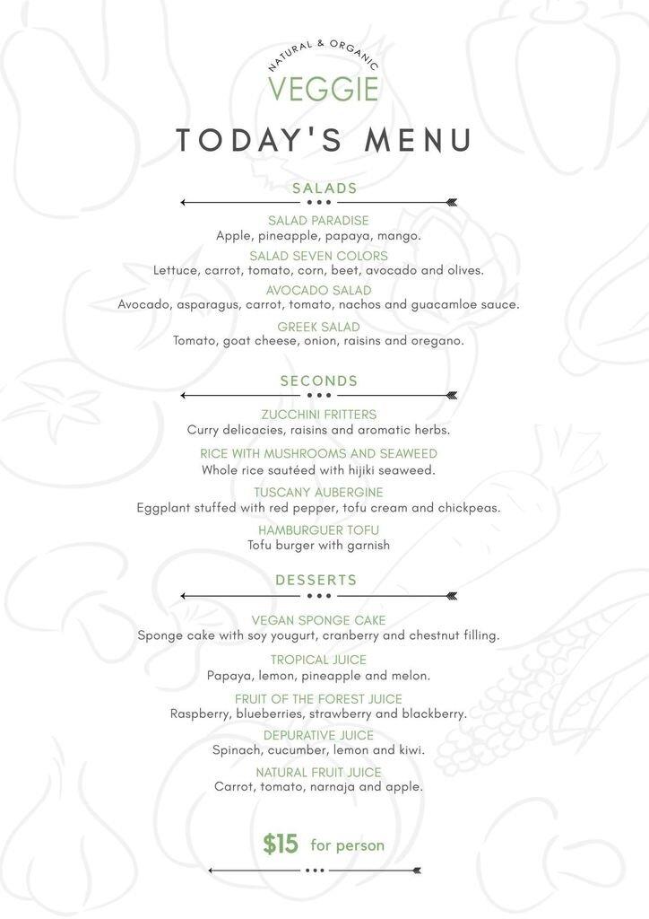 menu vegan template