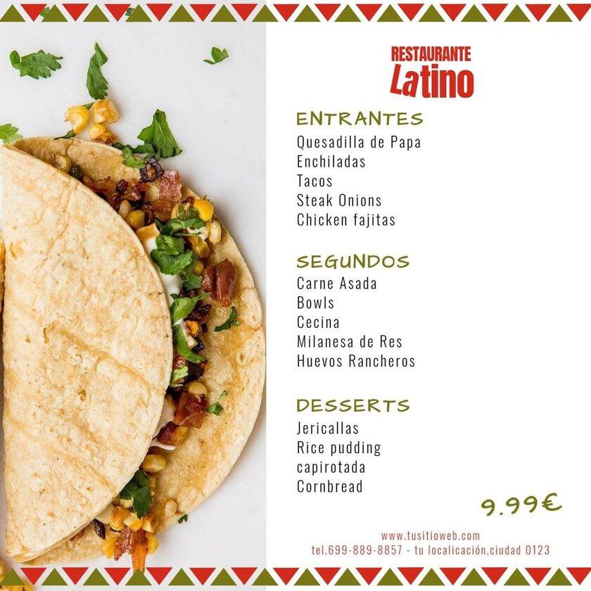 ejemplo restaurante menu plantila