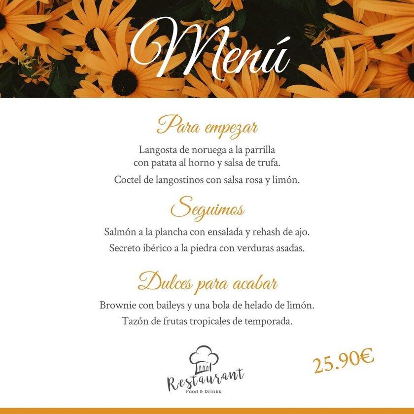 plantilla menu restaurante flores