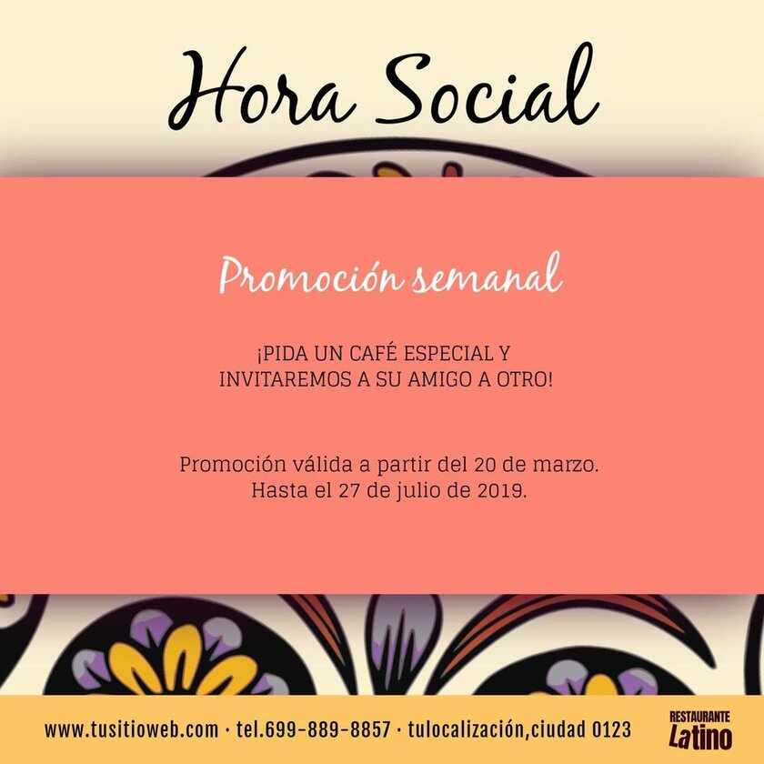 promocion hora social plantilla