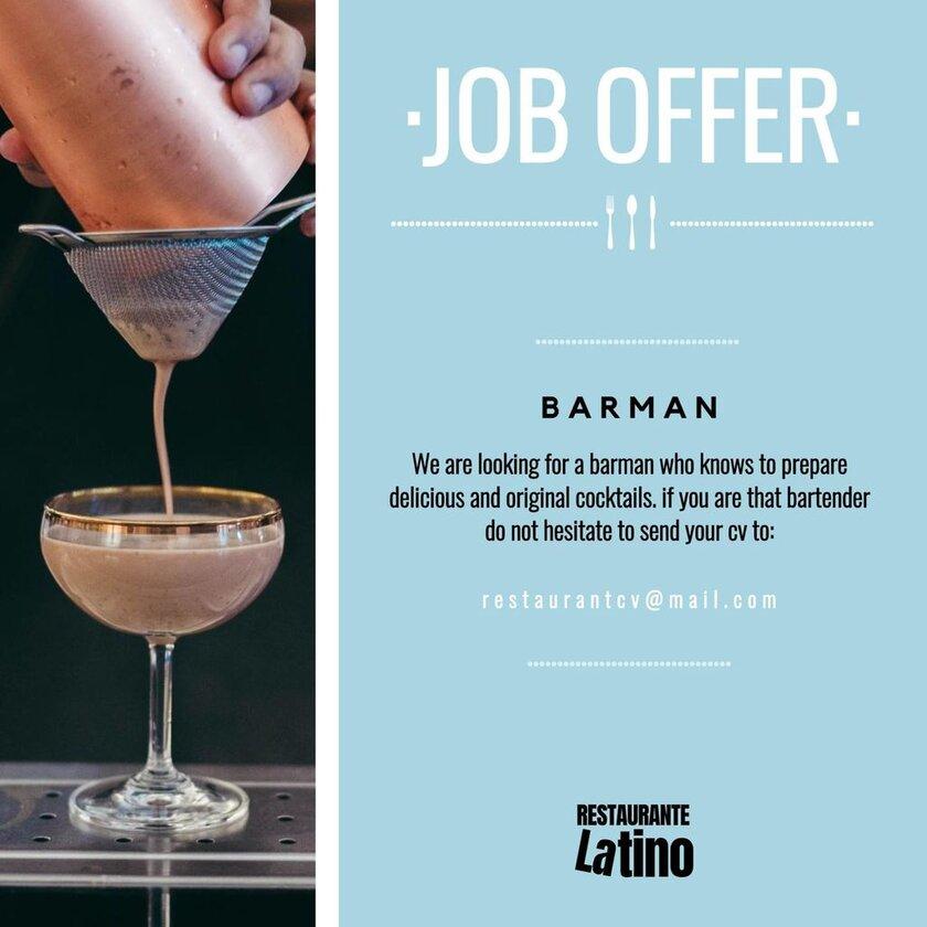 job offer barman