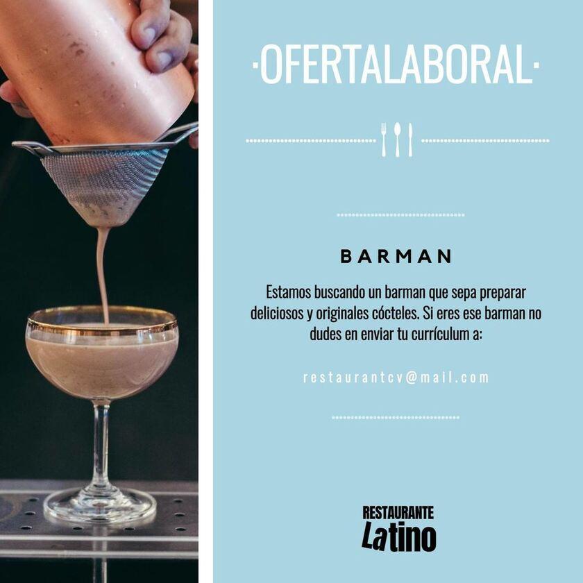 cartel oferta laboral barman para editar
