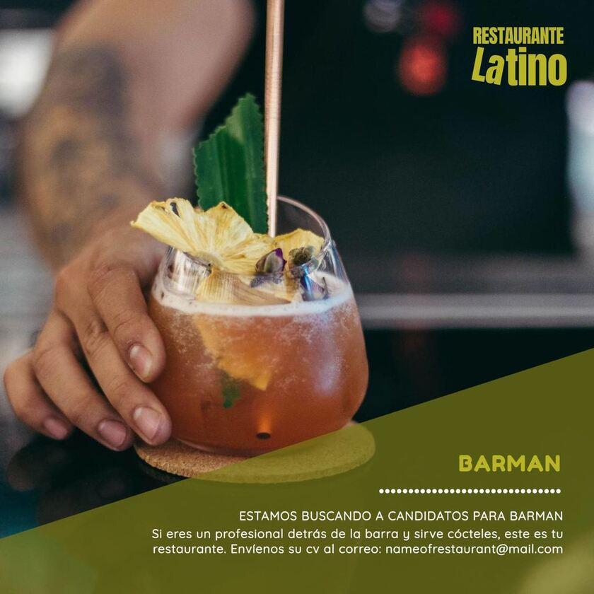 cartel se busca barman plantilla