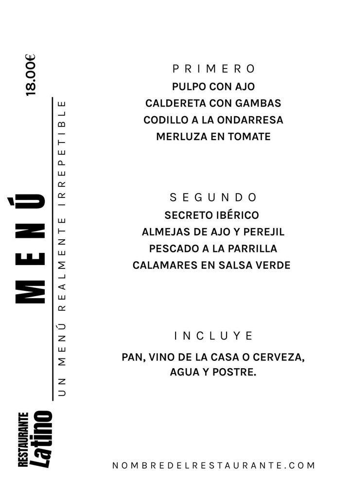 menu a4 cocina