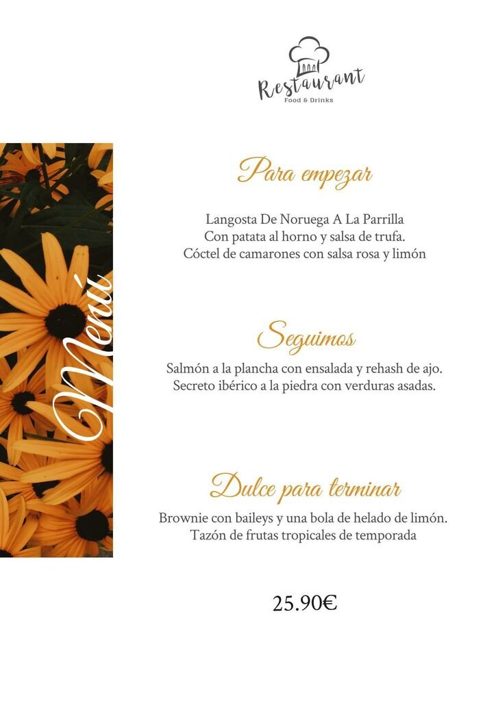 menu girasol plantilla