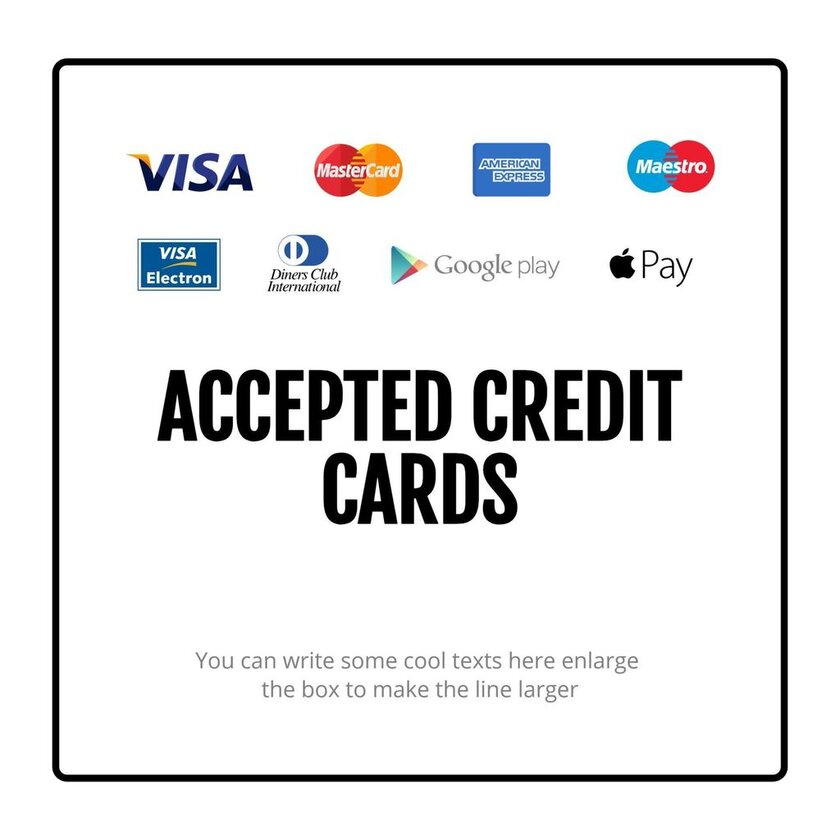 credit cards acepted