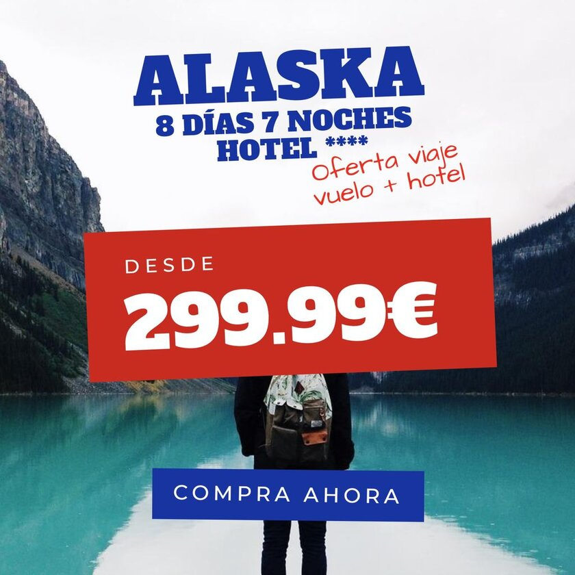 plantilla para editar online para agencia de viaje a alaska