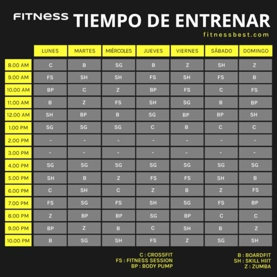 clases fitness plantilla