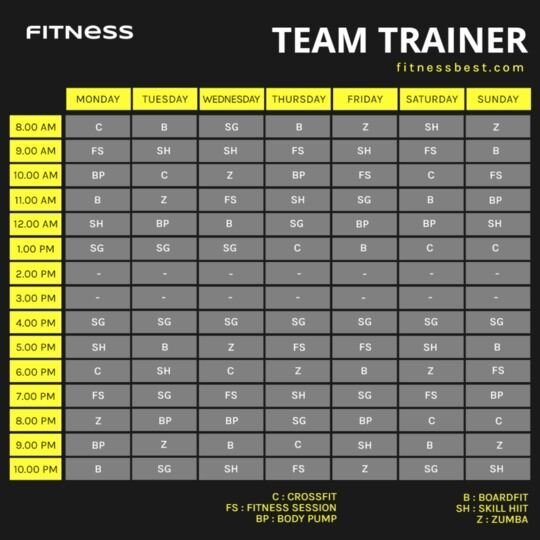 fitness class template