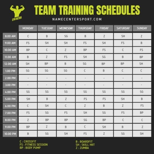 training timetable gym template