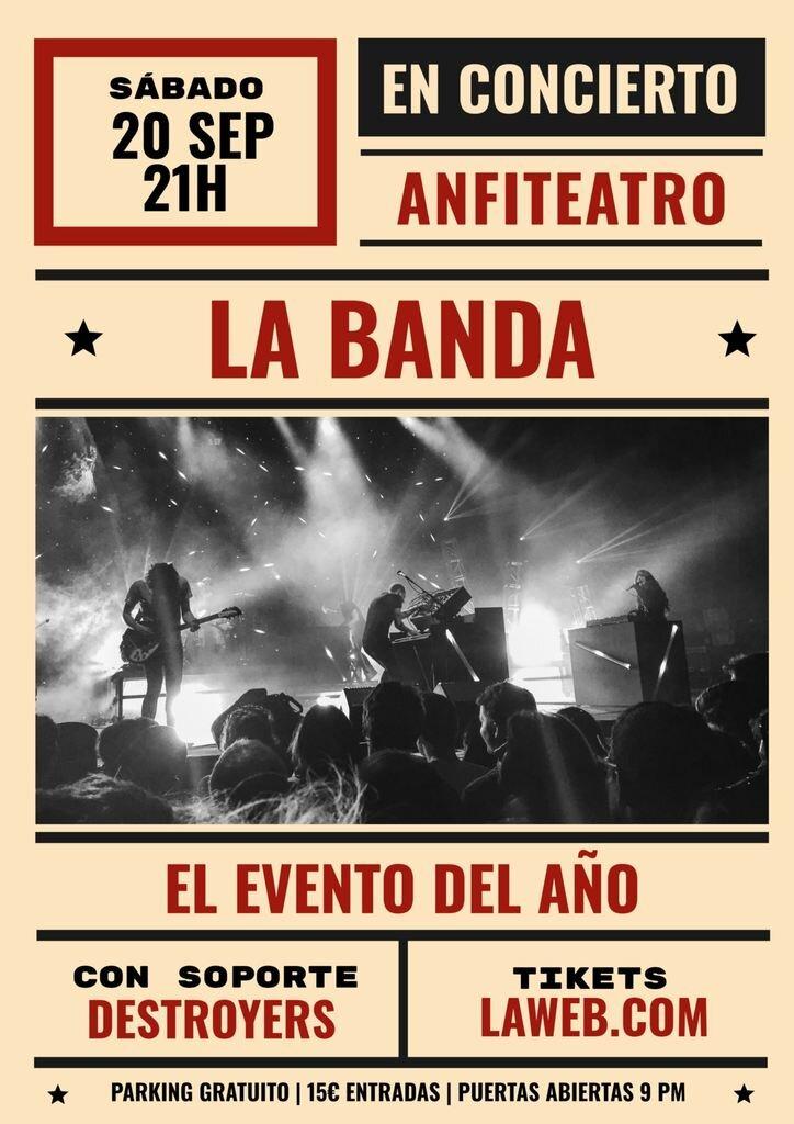 plantilla cartel concierto retro