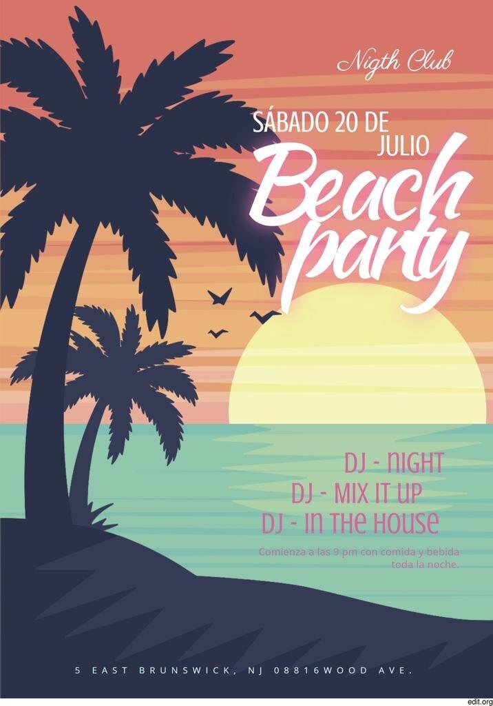 Cartel para fiesta en la playa para editar y descargar gratis