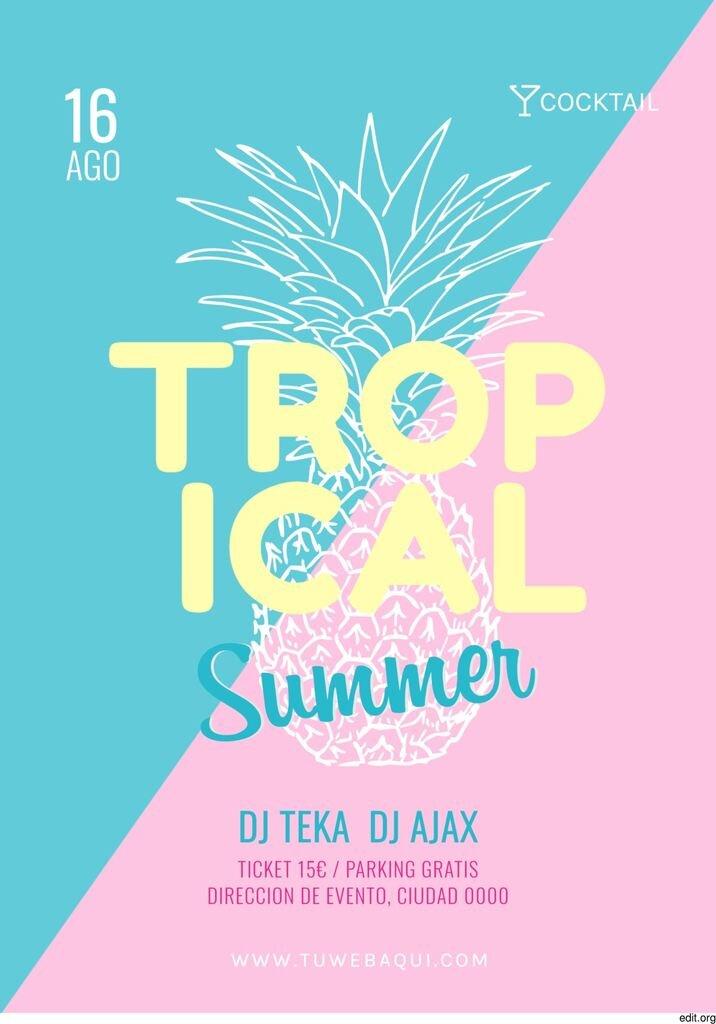 Poster editable para promocionar tu fiesta del verano