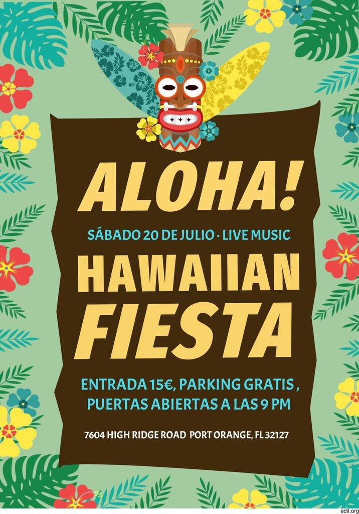 Cartel editable gratis de fiesta hawaiana
