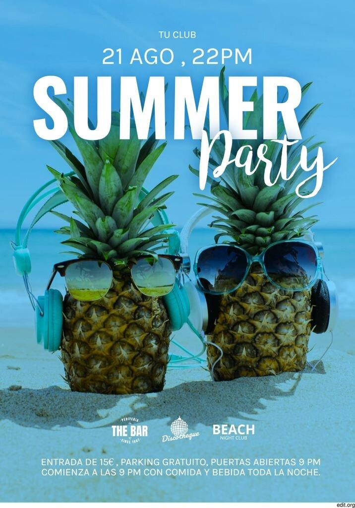 Cartel para promocionar fiestas veraniegas de verano