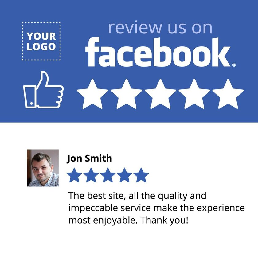 Facebook review us template with opinion - edit the design with the editor EDIT