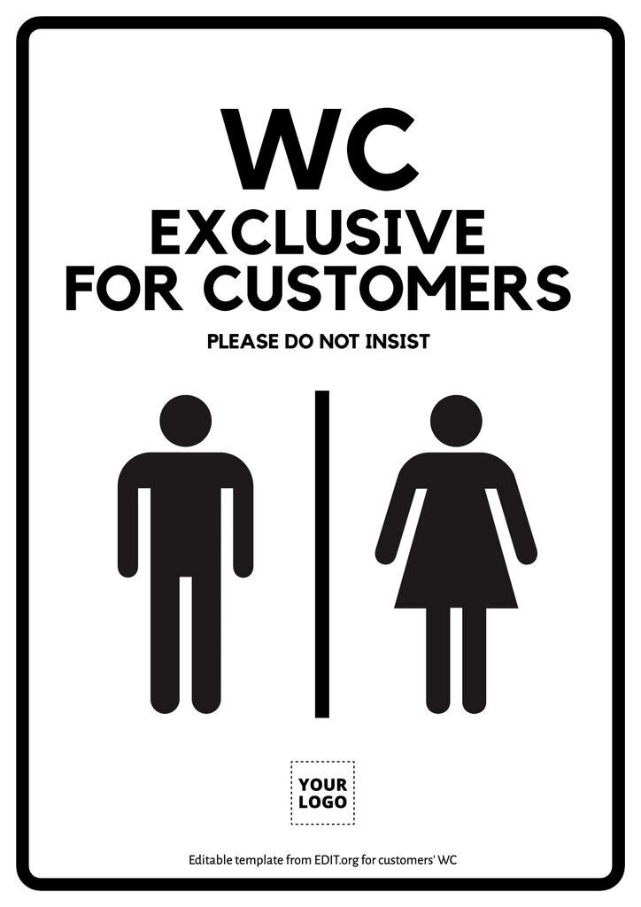 Customizable toilet sign to print for free