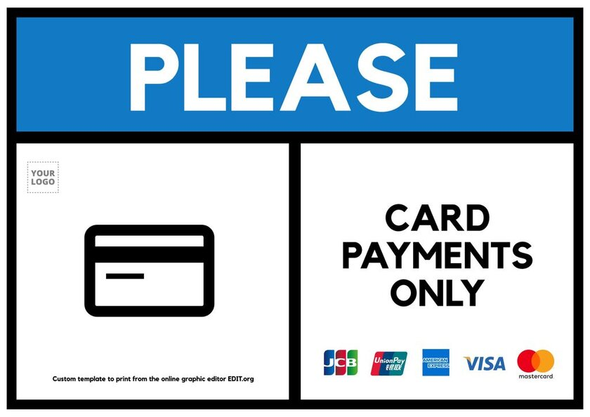 Card payments only sign template to edit