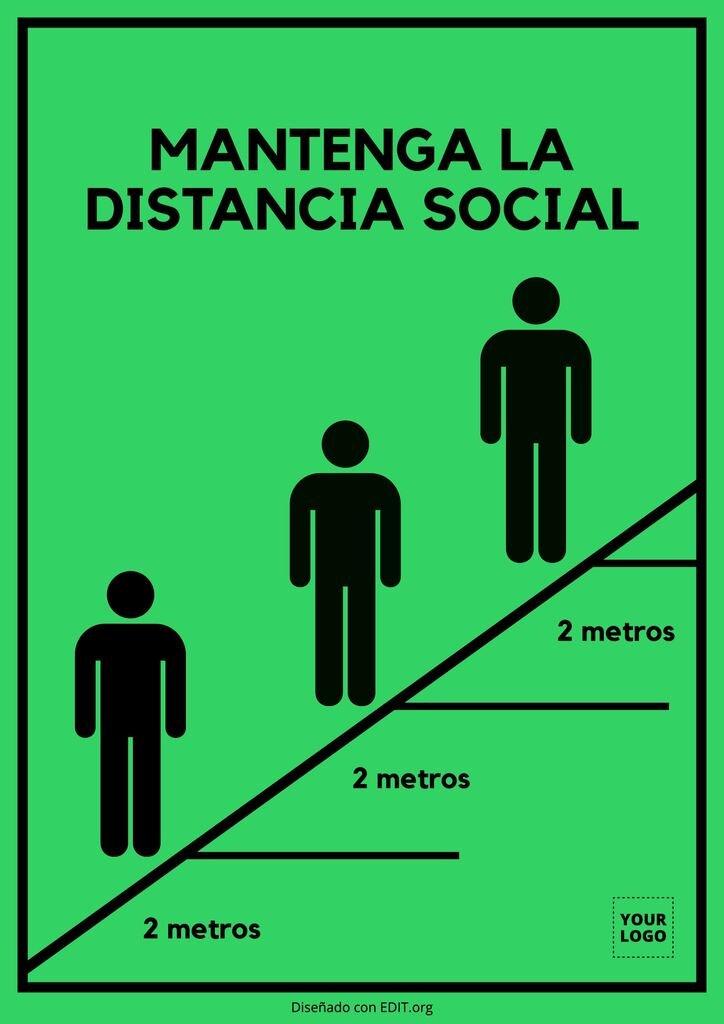 Cartel para distancia social editable gratis